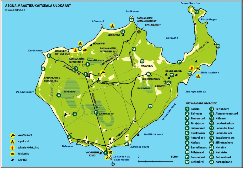 Aegna ekskursioonid ja laevareisid - Aegna maastikukaitseala kaart