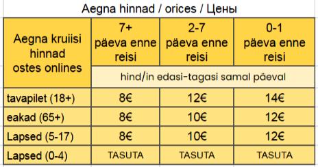 sõidugraafik Aegnale ja Aegna päevakrruiiside piletihinnad
